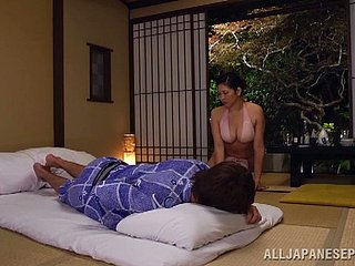 Prexy Japanese milf gets her pussy tamed and fucked doggy breeze