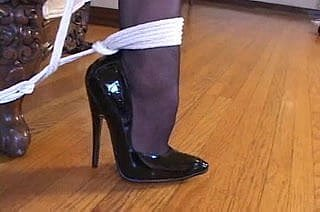 Serfdom hither off colour stockings & arrogant heels (black 6inch pumps)